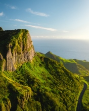 Rocha dos Bordões on Flores  - Azores (Portugal) - Drone photo