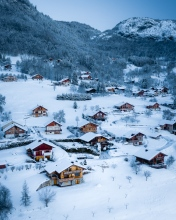 Snowy village of Onnion - France