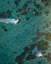 Kitesurf Trou d'eau - La Réunion (France) - Drone photo