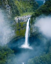 Takamaka waterfall - La Réunion (France) - Drone photo