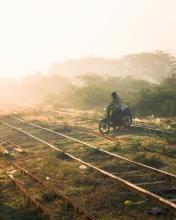 Train - Myanmar - Drone photo