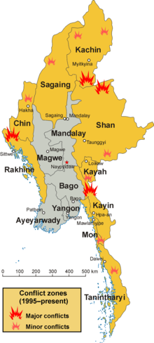 Conflict zones in Myanmar