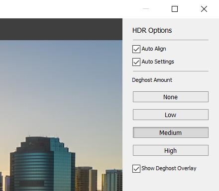 HDR merge options