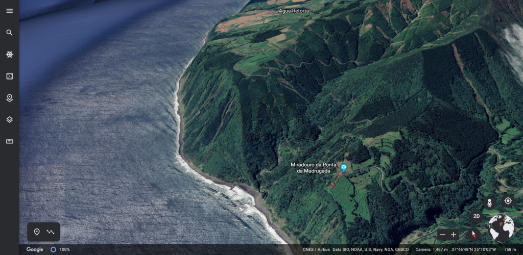 Google Earth view of the East coast of São Miguel